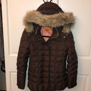 JUICY COUTURE DOWN BROWN PUFFER FUR HOODIE JACKET